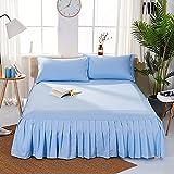 マットレスカバー 高 商品 反応性印刷と染色 ブラシ布 シンプルでファッショナブル プリーツ ソリッドカラーベッドスカート 寝具 枕カバーは含まれていません -H King 198*203+40cm