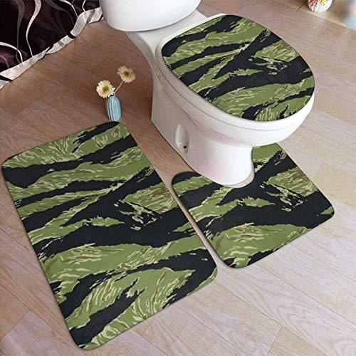 3 Stück Sets Bad Teppich Vietnam Tiger Stripe Camo Für Bad rutschfeste Kontur Matte Deckel Waschbar Badteppich Set
