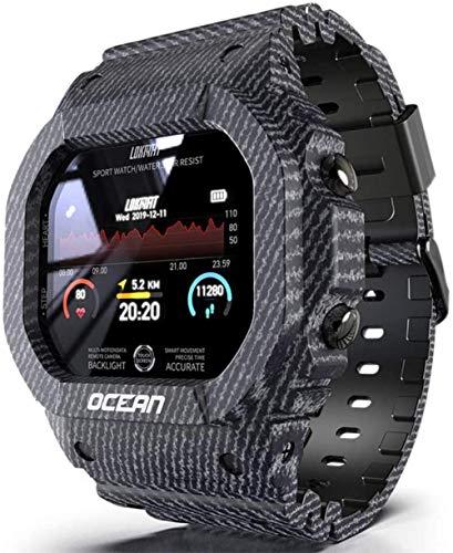 Smart Sportuhr, Digitaluhr Outdoor Multifunktions Quadrat Militär Uhr mit IP68 Wasserdicht Bluetooth Schrittzähler Kalorienneutral Schwarz