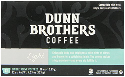 Dunn Brother's Single Serve Coffee, Light Blend, 12 Count (Pack of 6)