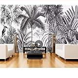 papier peint européen Vintage, peint en noir et blanc Tufts Jungle Mural, mur de télévision fond d'écran 3d 280 cm (L) x 180 cm (H)