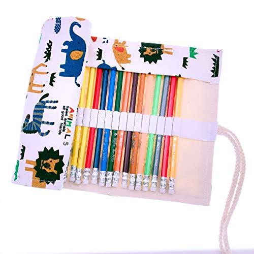 JZK 36 Lápices de colores lápiz de dibujo con estuche enrollable lona portalápices cumpleaños navidad regalo Ideal para artistas adultos y niños