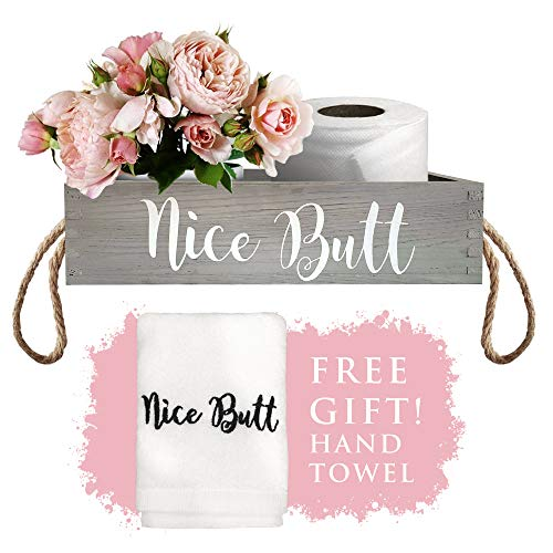 Bonita caja de decoración de baño con toallas de mano gratis, bonito culo, decoración de baño de culo, decoraciones de baño divertidas, decoración de baño y caja de baño