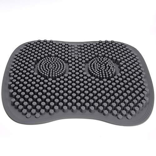 Facmogu - Cojín de silicona 4D para asiento de asiento de silicona transpirable para aliviar el estrés, alfombrilla suave para el hogar, oficina, coche, color gris