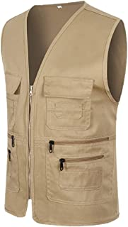 Men Outdoor Cargo Full Zip Fleece Outerwear Travel Vest Workwear