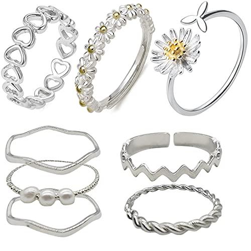 Set di 8 Anelli da Donna Anelli da dito Bohémien Open Daisy Pearl Joint Shaft Flower Knuckle Rings Anelli a fascia impilabili Set di anelli Regolabile per le donne Ragazze Charm Fashion Jewelry