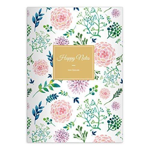 16 gepersonaliseerde, mooie bloemenrijke luxe notitieboekjes DIN A5 schrijfboekjes met zomerbloemen in roze groen liniatuur 4 (gelinieerd boekje)