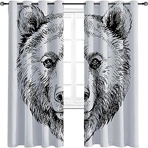 Cortinas opacas para dormitorio de animales, dibujo a mano, diseño de oso de vida silvestre con texto en inglés «Naturaleza», para sala de estar o dormitorio (150 x 172 cm), color negro y blanco