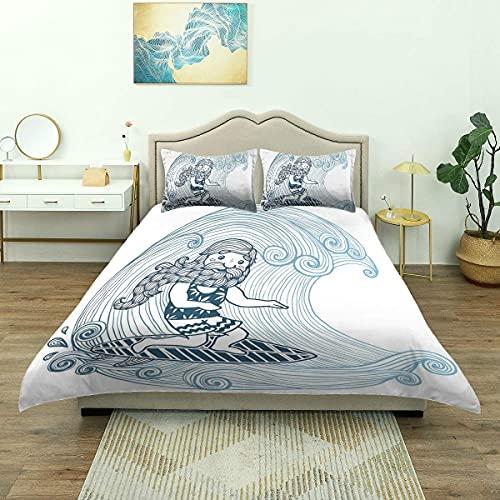 ATZTD Funda de edredón, Doodle Surfer con barba larga remolinada olas tabla de surf deportes acuáticos, juego de cama de microfibra de lujo, cómodo