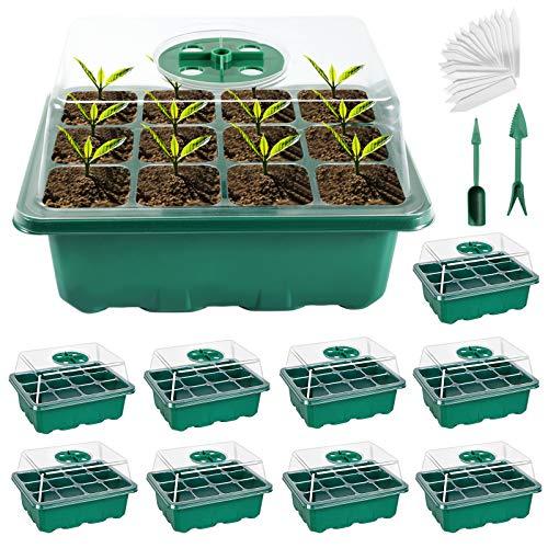 Joycabin Anzucht Gewächshaus,Zimmergewächshaus Anzuchtkasten 10 STK. 12 Zellen,Mit Etiketten Sämlingstablett,Sämlingsschale Ideal für Sämling Pflanze Aufzucht