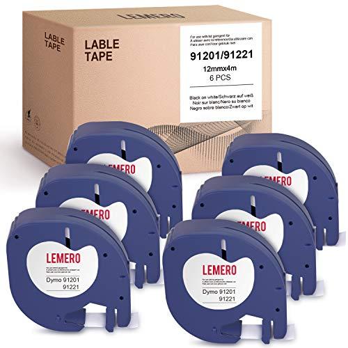 Lemero - 6 nastri per etichette, compatibili con Dymo 91221 91201 S0721660 S0721610 LetraTag per LT-100H LT-100T QX50 2000 XR XM Plus, nero su bianco, 12 mm x 4 m