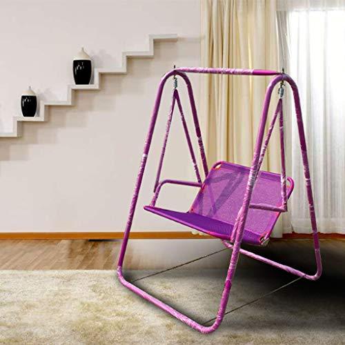 XinQing-sofá Perezoso Swing Lazy Chair Outdoor Leisure Silla Doble Silla giratoria Silla Individual Balcón (Color : Purple)