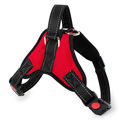Tbrand Dog Harness, No Choke Front Lead Dog Reflective Harness, Adjustable Soft Padded Pet Vest with Easy Control Handle for Small to Medium Dogs (S, Red)
