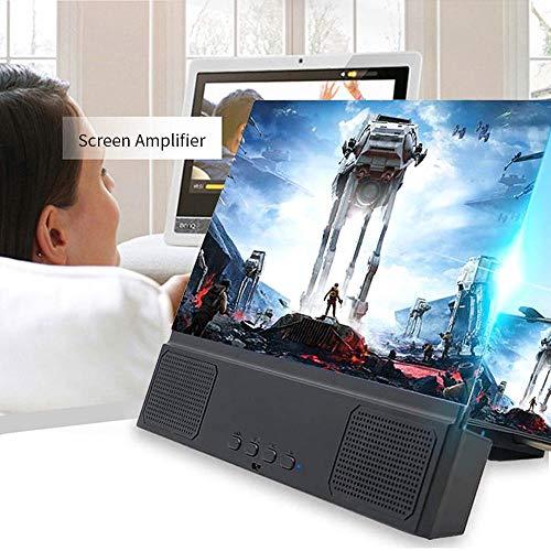 lesgos Lupa de pantalla con altavoz, proyector de pantalla 3D de 12 pulgadas con altavoz inalámbrico, amplificador de películas HD portátil soporte para todos los smartphones iOS y Android
