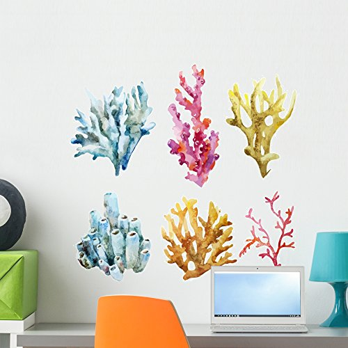 Wallmonkeys Corals with Shells and Wall Decal Sticker Set Individual Peel and Stick Graphics on a (24 in H x 24 in W) Sticker Sheet WM369281