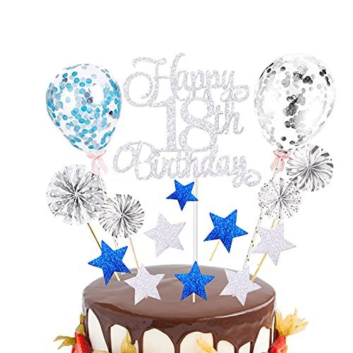 BOYATONG 18.Geburtstag Tortendeko Sliber, Glitzer Happy 18th Birthday Cake Topper,Kuchendeko 18. Geburtstag Junge Mädchen mit Konfetti Luftballon und Papierfächer Topper für Männer Frauen