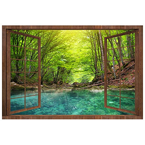 DNVEN 28 inches x 20 inches 3D Fake Wood Window Green Forests Blue Lake High Definition False Faux Window Frame Window Mural Vinyl Bedroom Living Room Playroom Wall Decals Stickers