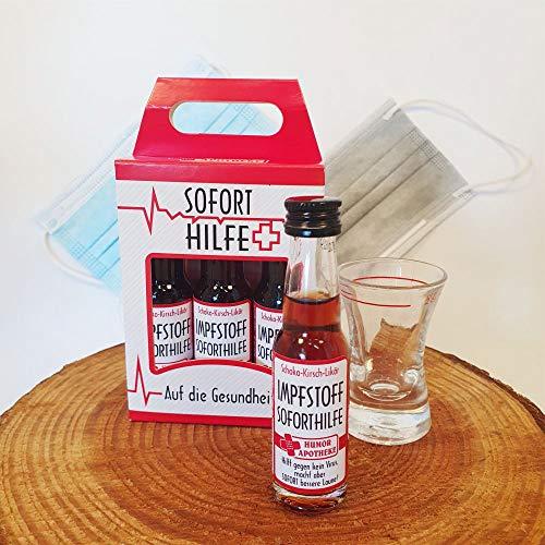 Kleiner Impfstoff Sofort Hilfe 3er Box | 3 x 0,02l | Schoko Kirsch-Likör | 20% vol. alk. | Humormedizin | Der erste Impfstoff gegen das Virus kommt aus unserer Humorapotheke