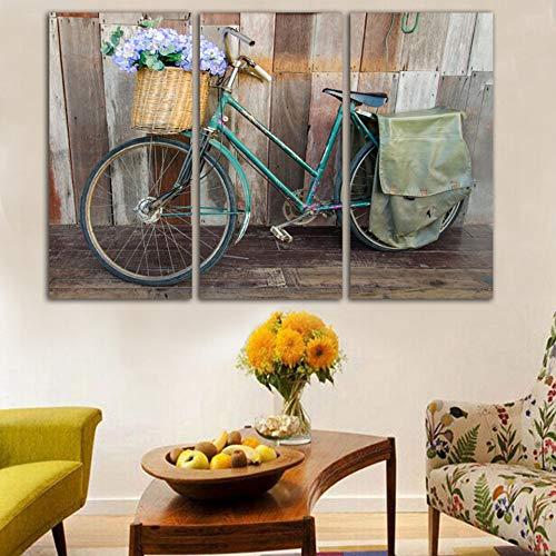 YGKDM Woonkamer Frame HD Wohnkultur gedrukt 3 panelen fiets en bloemenmand modern canvas foto's schilderij muurkunst modulaire poster 40cmx80cmx3pcs Frame