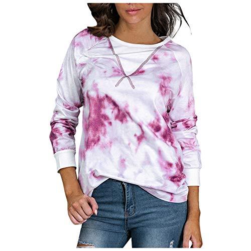 Women's Tops Casual Sweatshirts Tie-Dye Printing Long Sleeve Shirts for Women Hot Pink