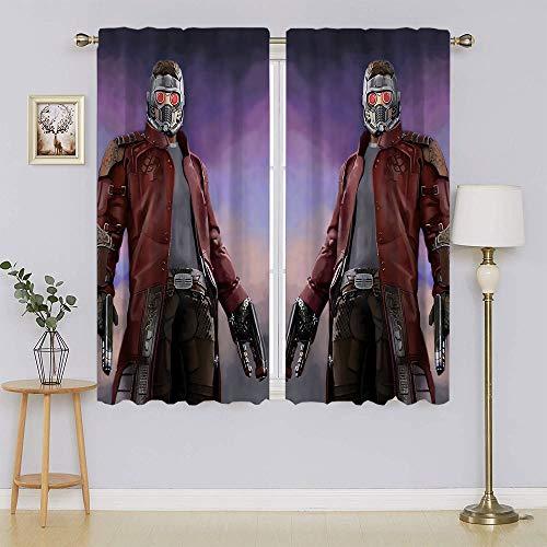 Cortinas opacas con bloqueo de luz de cartel de Star Lord, Guardians of the Galaxy para puerta, cortina de bajo consumo de energía, adorable y sostenible para el pasillo de 163 x 100 cm