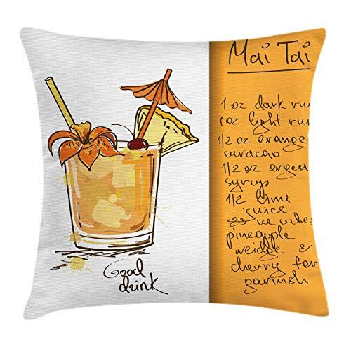 Tiki Bar Dekokissen Kissenbezug, handgetrockneter Mai Tai Cocktail im Glas und das Rezept Haiian Drink, 18 'X 18', Orange Weiß