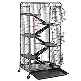 Yaheetech Jaula de Huron Jaula Chinchilla Grande Jaulas para Hamster Mascota Negra 64x43x131cm