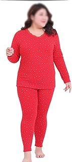 طقم ملابس داخلية حرارية للنساء، نعومة فائقة، سترة دافئة بأكمام طويلة وسروال ضيق، أحمر-6XL