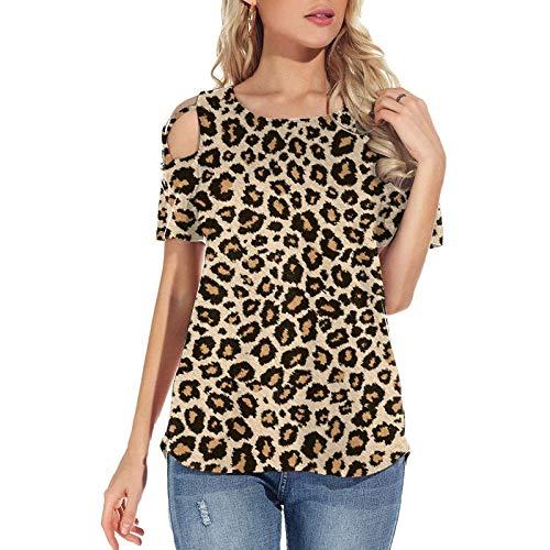 MARTINSHARK Camiseta de manga corta para mujer, diseño de leopardo, estilo casual, con hombros descubiertos, manga corta café XXL