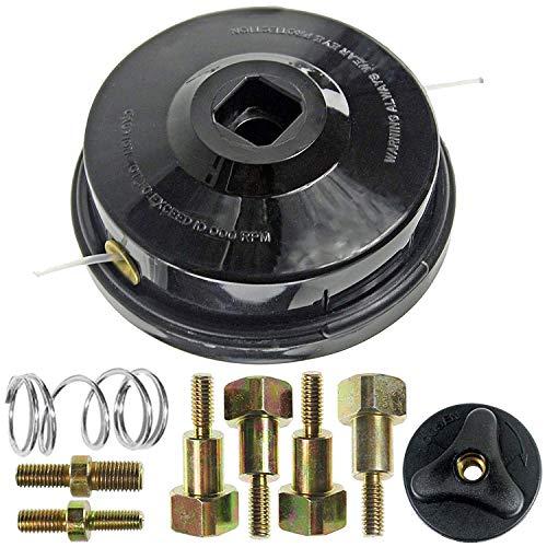 Spares2go Cabezal de alimentación manual de doble línea con tornillos para desbrozadora y desbrozadora Decker