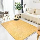 MyShop24h - Alfombra para salón Shaggy (80 x 300 cm, pelo largo, con flecos), color amarillo