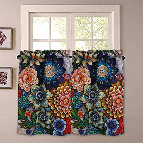 YoKii Boho Floral Kitchen Curtains 36 Inch, Blackout Curtains for Small Windows Colorful Modern Farmhouse Flower Patterned Rod Pocket Short Curtains for Kitchen Bathroom(Tiers - 24 x 36, Colorful)