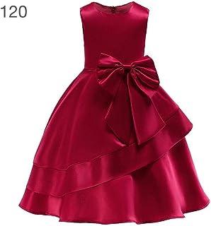 プリンセススカート 女子蝶結びスカート 女子児童のドレス 少女ワンピース ロングドレス サテンのファブリック(2-9歳)