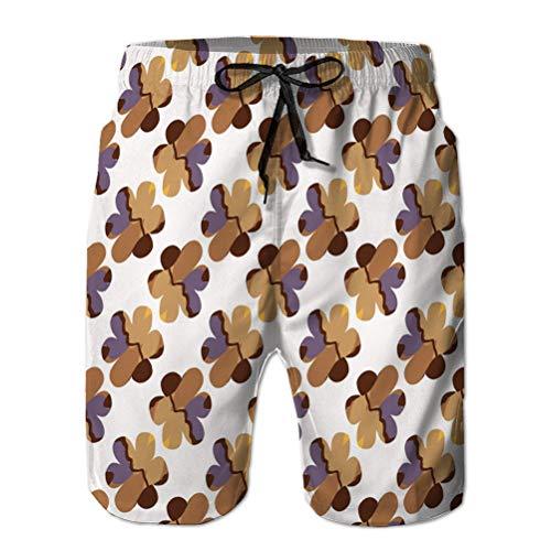 Pantalones Cortos de natación Deportiva Pantalones Cortos Casuales de Verano para Hombres Dibujados a Mano zhizhi Bloom Seam