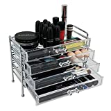 OnDisplay 4 Drawer Chromed Steel Frame Acrylic Cosmetic Makeup Organizer