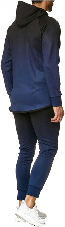 JSPOYOU Mens 2 Pieces Jogging Suit Full Zip Up Hoodies Tracksuit Workout Training Sportswear Activewear