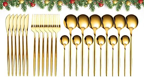 GUANGE Set di posate da 24 pezzi, set di posate in acciaio inossidabile, cucchiai e forchette Servizio per 6, posate a specchio, forchette e cucchiai, argenteria, lavabile in lavastoviglie, oro