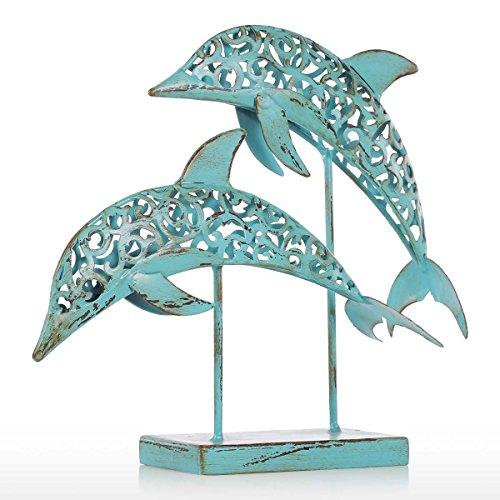 Tooarts Moderne Skulptur Abstract Skulptur Deko Objekt aus Eisen Delfine