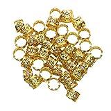 Monrocco 40 Pack Aluminum Gold Dreadlocks Beads Hair Braid Cuffs Rings Adjustable Hollow Out Rhinestone Crystal Heart Braiding Hair Jewelry