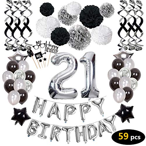 21st Birthday Decorations,21st Happy Birthday Decorations Balloons Party Supplies,21 Birthday Balloons Banners Confetti Hanging Swirls Paper Pompoms Cake Topper,for Her Women Girls Man