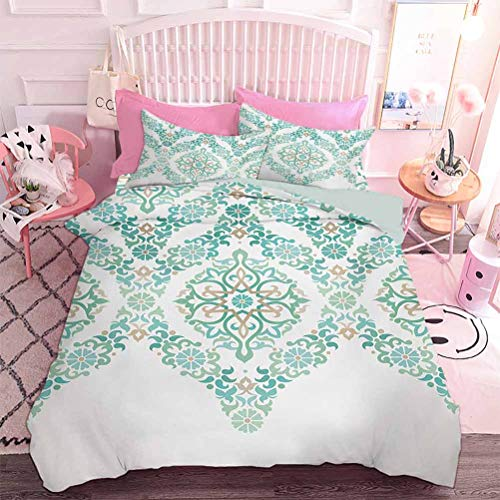 Hiiiman Duvet Cover Set Retro Middle Age Symmetrical Traditional Gothic Garland Forms in Pastel Print (3pcs, Queen Size) with 2 Pillow Sham