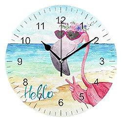 Wamika Wall Clock Pink Flamingo Beach Sea Summer Flowers Silent Non Ticking Round Clocks, Flamingos Birds Ocean Floral Clocks 10 Inch Battery Operated Quartz Quiet Desk Clock for Home Office