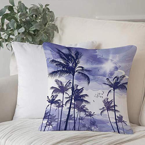 Funda de Cojín,Funda de Almohada Cuadrada para Asiento,Océano, exóticas palmeras tropicales altas en Beverly Hills Puesta deFundas de Almohada para Sofá Decorativas Dormitorio Coche Pulgada 45 x 45 cm