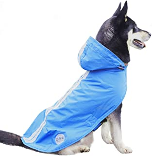 Nourse CHOWSING Dog Raincoat Adjustable Lightweight Waterproof Dog Rain Jacket Dog Rain Poncho Dog Rain Gear with Reflective Strip for Small Medium Large Dogs
