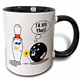 3dRose Id Hit Ball Thinks to Pin Bowling Humor Sports Design Two Tone Mug, 11 oz, Black/White