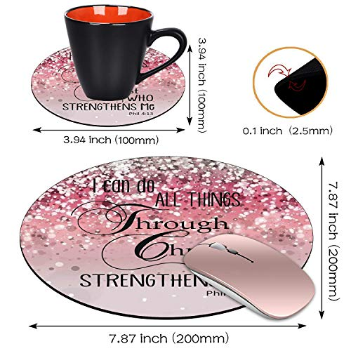 BWOOLL Round Mouse Pad and Coasters Set, Pink Glitter Mousepad, Inspirational Quotes Christian Bible Verse Phil 4-13 Mousepad, Non-Slip Rubber Base Mouse Pads for Laptop and Computer Photo #3