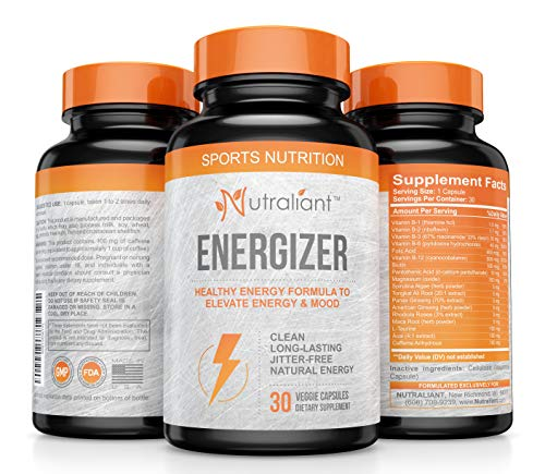 #1 Best Energy Pills with Caffeine, Ginseng, Taurine, B Vitamins + All Day, No Crash Jitter-Free Performance Booster Supports Smooth Energy, Memory & Alert Focus for Men & Women - Natural Supplement