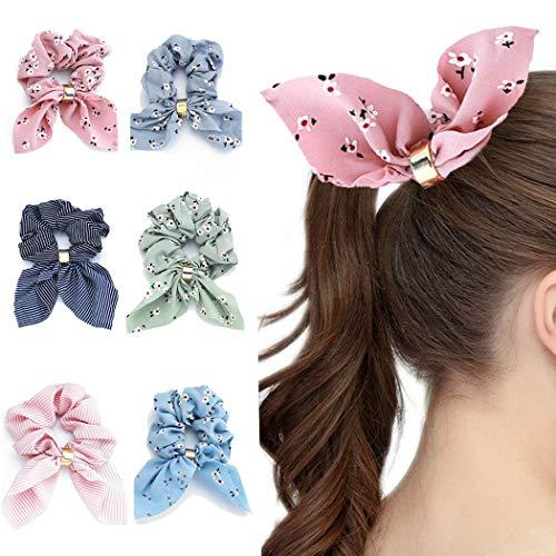 Genglass Élastiques Cheveux Chouchous En Mousseline de Soie Rayure Imprimé Rose Cheveux Cravates Fleur Anneau De Cheveux pour Femmes Filles Pack de 6