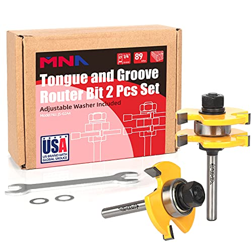 MNA Tongue and Groove Set of 2 Pieces 1/4 Inch Shank Router Bit