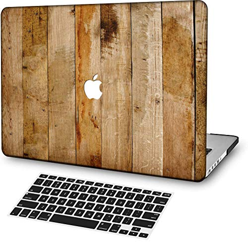 MingCaiFS Laptop Case for MacBook Pro 13' Retina (2020,with Touch Bar) Cut Out Design,Plastic Pattern Ultra Slim Light Hard Case Keyboard Cover (Model:A2289/A2251),Wood Grain A 3
